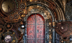 steampunk red door, a lot of filigree